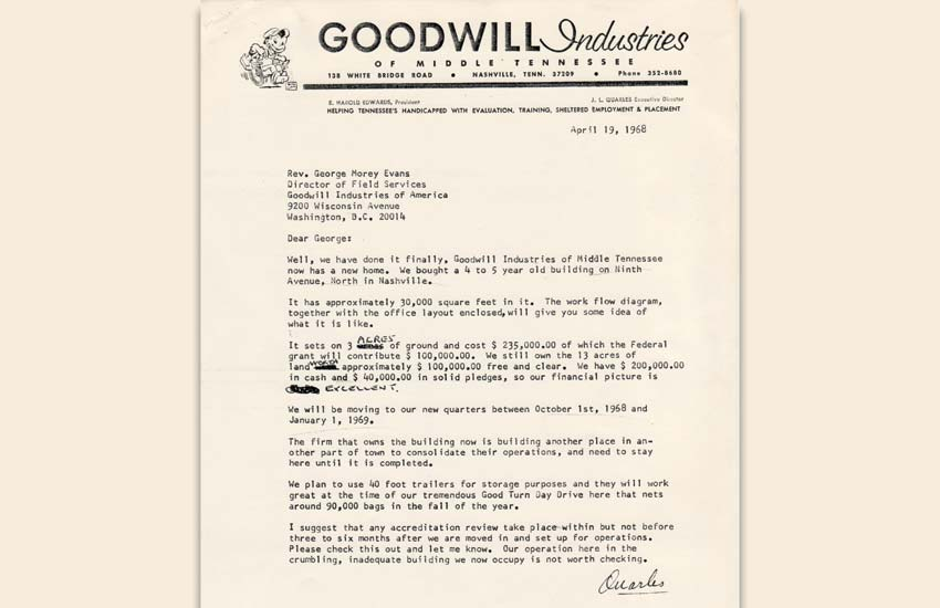 Goodwill Industries of Middle Tennessee, Inc. | Our History