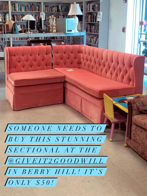 This post to Instagram stories by Goodwill supporter and actress Elisabeth Donaldson, which was later shared on Goodwill's Instagram page, helped Stephanie Bowman realize her dreams of a perfect classic Nashville room. Stephanie later posted about her purchase on a Facebook group, where it has amassed more than 22,000 likes.