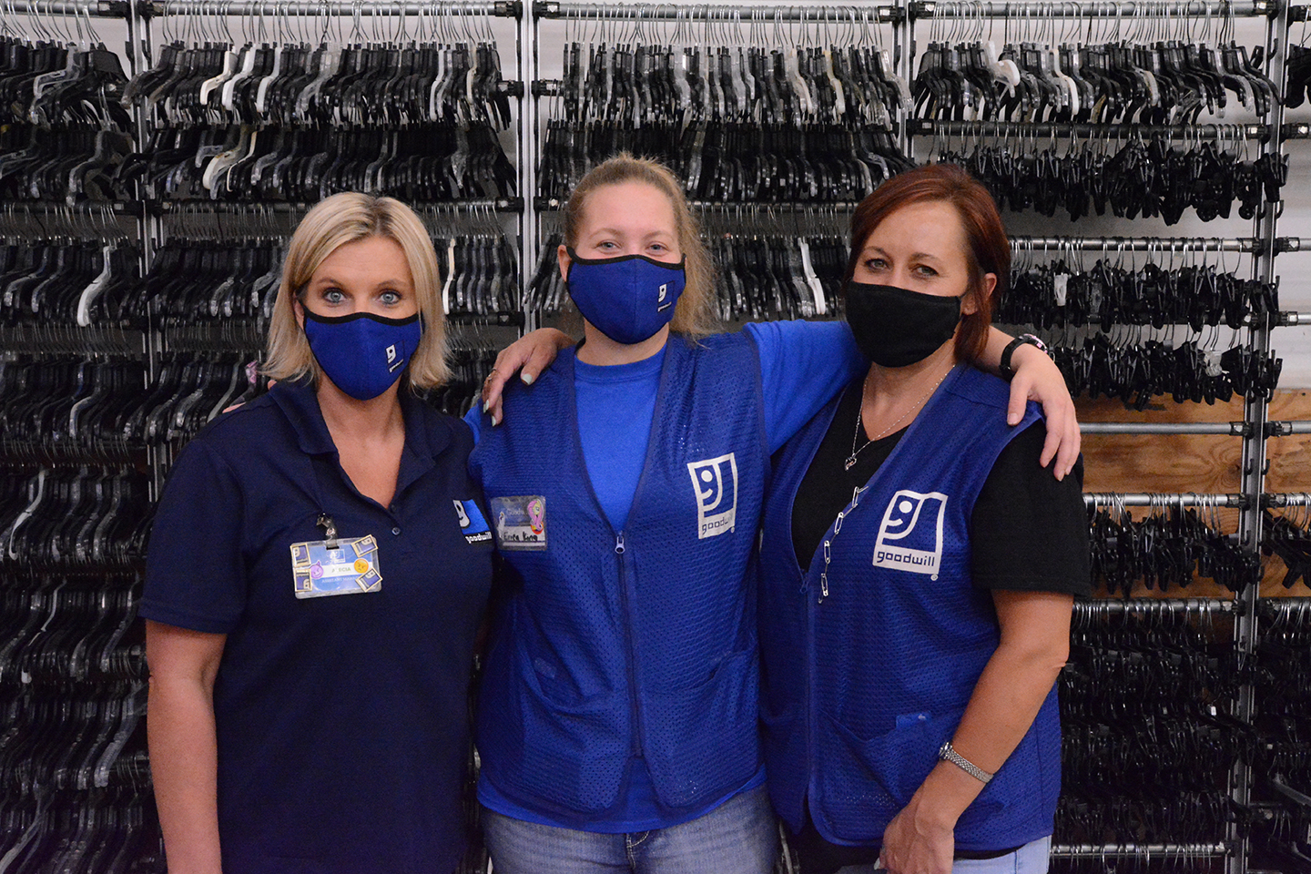 Goodwill teammates are a lot like family, Erica says. She is pictured with teammates Alecia Taylor, left, and Amanda Messick, right.